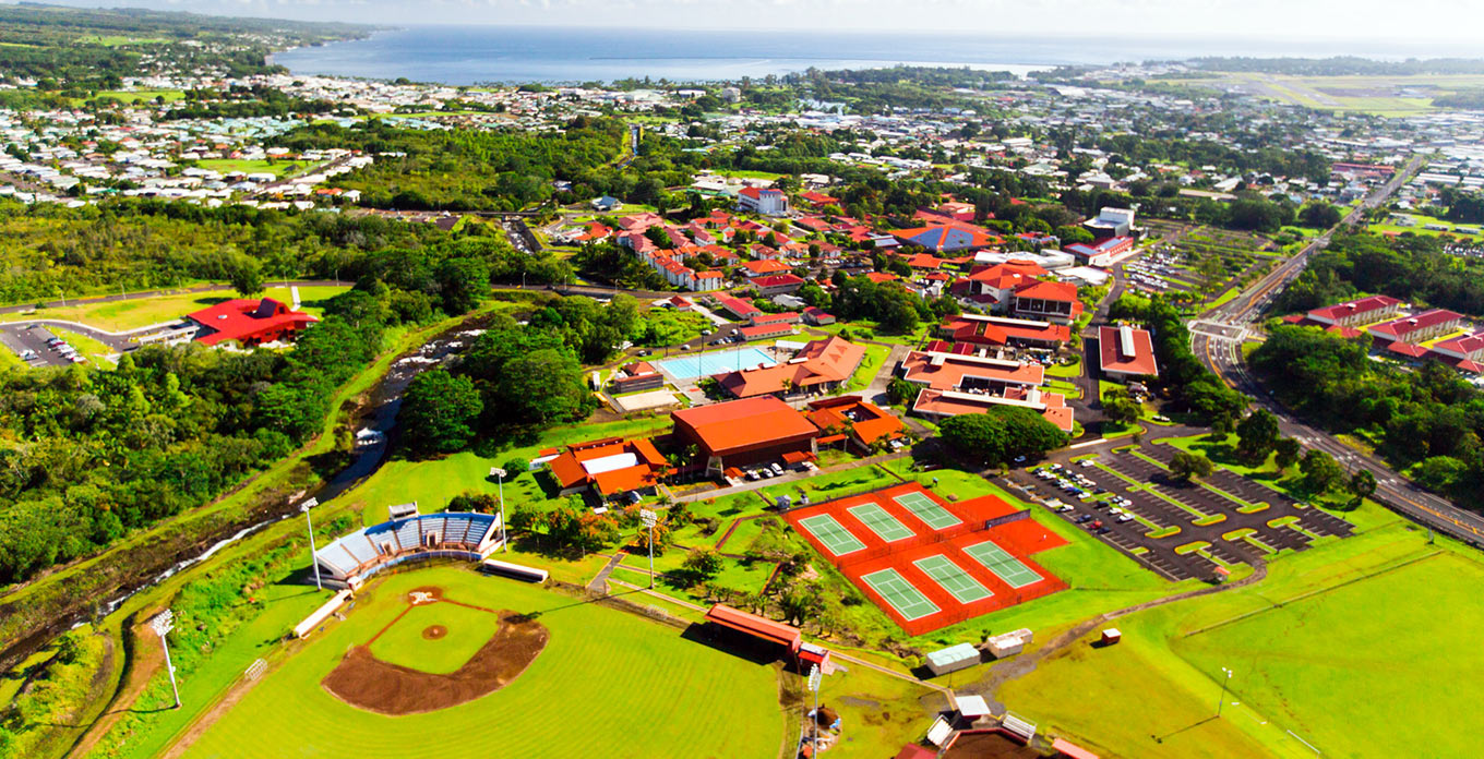 Aerial view of UH Hilo, looking NorthEast