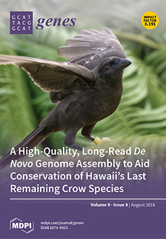 "Cover of Genes with ʻAlalā bird, Volume 9, Issue 8, August 2018. Impact Factor 30.191. Title is ""A High-Quality, Long-Read De Novo Genome Assembly to Aid Conservation of Hawai'i's Last Remaining Crow Species""."