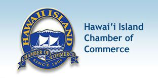 Blue logo with the words Hawaii Island Chamber of Commerce.