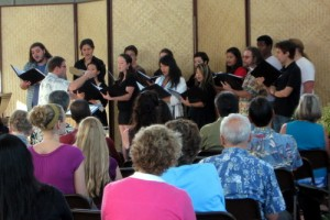 The choir sings at the Spring Gathering.