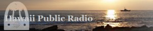 Logo with the words Hawaii Public Radio, ocean in background