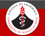 Pharmacy logo with graphic design of volcano and flame with the words College of Pharmacy University of Hawaii at Hilo
