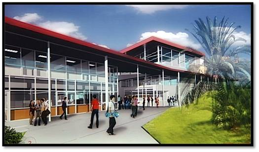 Rendering of Student Services Building, two story, glass front, red roof, students on walkway.