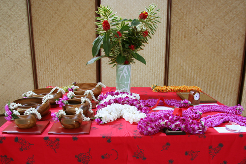 Display table of koa bowls and lei given to honorees at UH Hilo's 2011 Awards and Recognition Celebration held May 3 at the Campus Center Plaza.