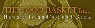 Words: Food Basket Inc, Hawaii Island Food Bank. Against green image of breadfruit.