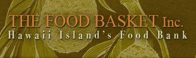 Words: Food Basket Inc, Hawaii Island Food Bank. Against green image of breadfruit.