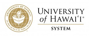UH System Logo, gold, with words University of Hawaii System., Ua Mau ke Ea o ka ʻĀina i ka Pono.