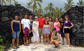 Bennett and Jacquie Dorrance in 2012 with the first cohort of UH Hilo Dorrance scholars at Puʻuhonua place of refuge on the west side of the island.