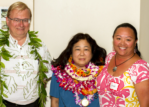 Left to right: Chancellor Straney; Outstanding University Support Employee Corinne Tamashiro; and Farrah Gomes, nominator.