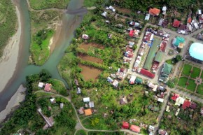 Aerial image over the Aklan river, Panay island, Philippines.