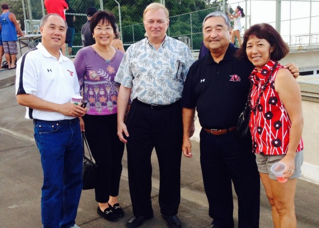 L-R: Newton Chu, Mariko Miho, Director, UH Hilo Development Office, Don, Barry Taniguchi, Roberta Chu.