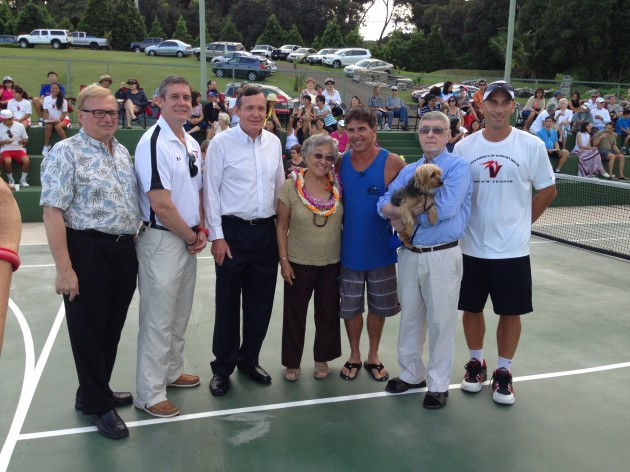 Chancellor Dr. Donald Straney, Interim Director of Athletics Tim Moore, Hui Kako'o Kenika /Hilo Brokers President Kelly Moran, Dr. Ruth Matsuura, Waterfalling Estate co-owner/designer/builder Scott Watson, Waterfalling Estate co-owner Laurie Robertson, UH Hilo Tennis Coach Karl Sloss.