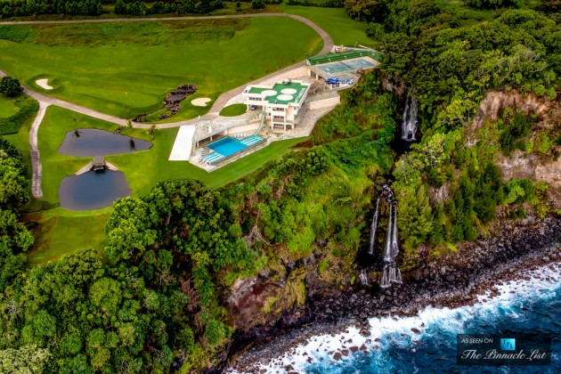 Aerial view of the Water Falling Estate in Ninoole on the Hamakua Coast of the Big Island.