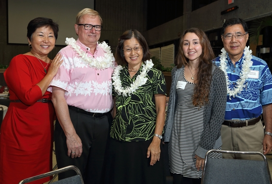 Chancellor Straney with guests at the 2014 UH Hilo Scholarship Celebration.