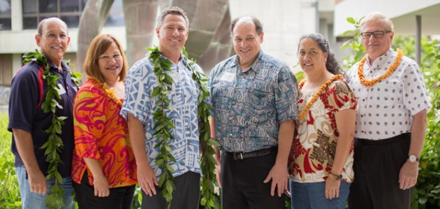 L-R: Dean Cevallos, Principal Kea'au High School; Carrie Larger, Career & Post-High School Counseling & Guidance, Kamehameha Schools; Brandon Ledward, 'Āina-Based Education Department Extension Educational Services, Kamehameha Schools; Matt Platz, Vice Chancellor for Academic Affairs, UH Hilo; Althea Magno, Kea'au High School teacher; Don Straney, Chancellor, UH Hilo