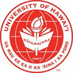 UH Hilo seal, red with the words University of Hawaii ant the state motto.