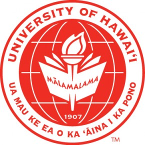 UH Hilo seal, red lettering University of Hawaii and the state motto.