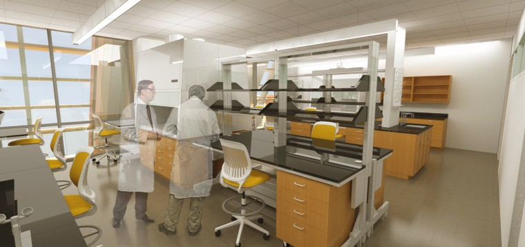 Rendering of lab space in the future facilities of the College of Pharmacy at UH Hilo.