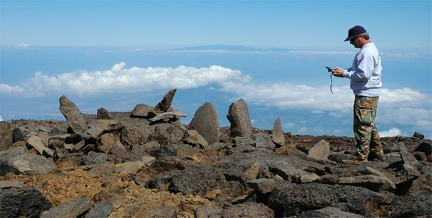 The monitoring of archaeological sites is conducted annually according to the guidelines in the archaeological monitoring and burial treatment plans. Pictured here: A multiple upright shrine (kūahu) in the Maunakea Science Reserve.