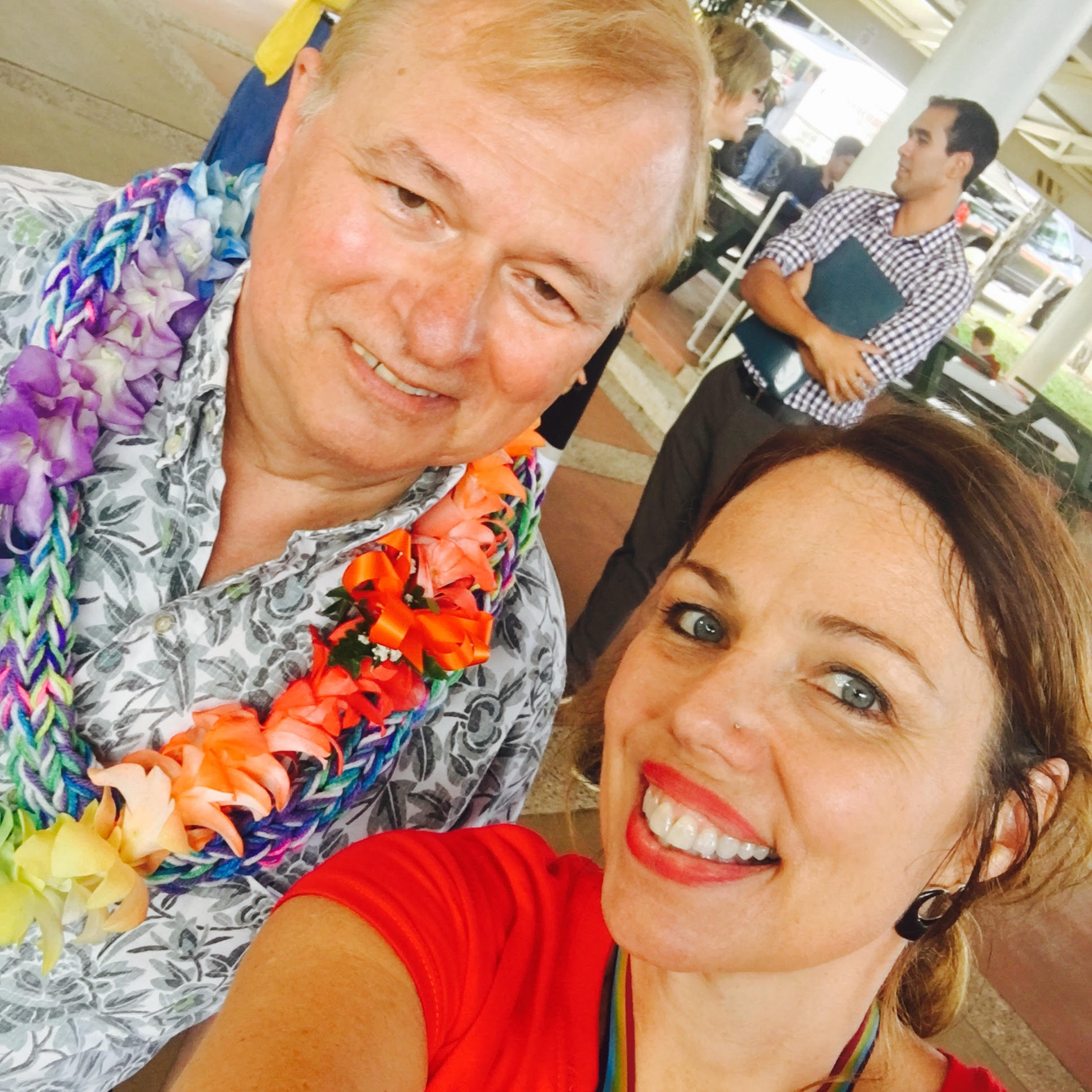 Chancellor Straney and Laura Sherwood, UH Hilo LGBTQ coordinator, at Coming Out Day event. Courtesy photo.