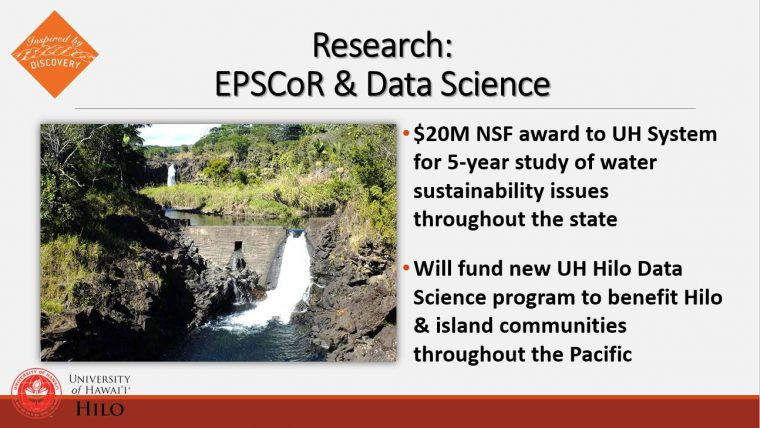 Slide about large NSF grant to study water resources in state.