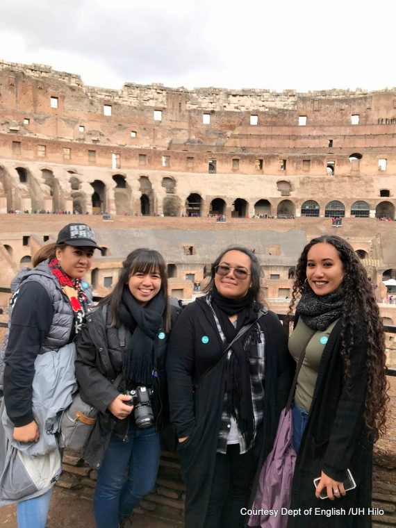 Leomanaolamaikalani Peleiholani-Blankenfeld, Tynsl Kailimai, Ciarra-Lynn Parinas, and U'ilani Dasalla with Colosseum in background.