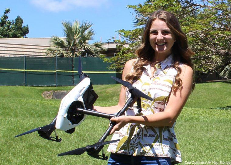 Rose Hart holding UAV,.