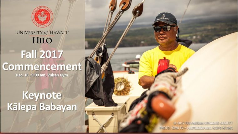 Commencement date/time info with photo of keynote Kalepa Babayan on voyaging canoe.