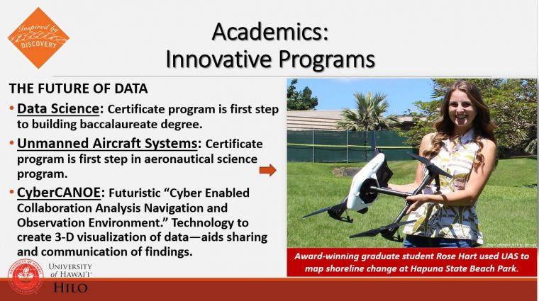 Innovative Programs with photo of student with UAV