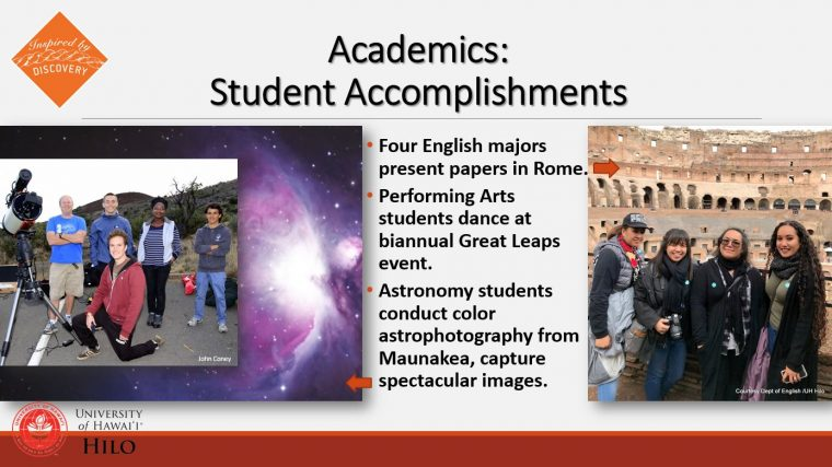 Student Accomplishments with photo of students in Rome and atop Maunakea.