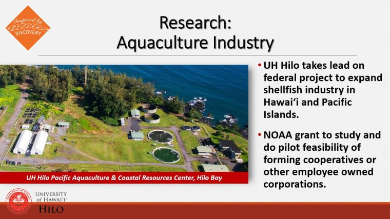 Aquaculture Industry with photo/aerial of the Pacific Aquaculture and Coastal Resources Center.