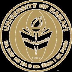 Gold UH logo with the words UNIVERSITY OF HAWAII UA MAU KE EA O KA AINA I KA PONO