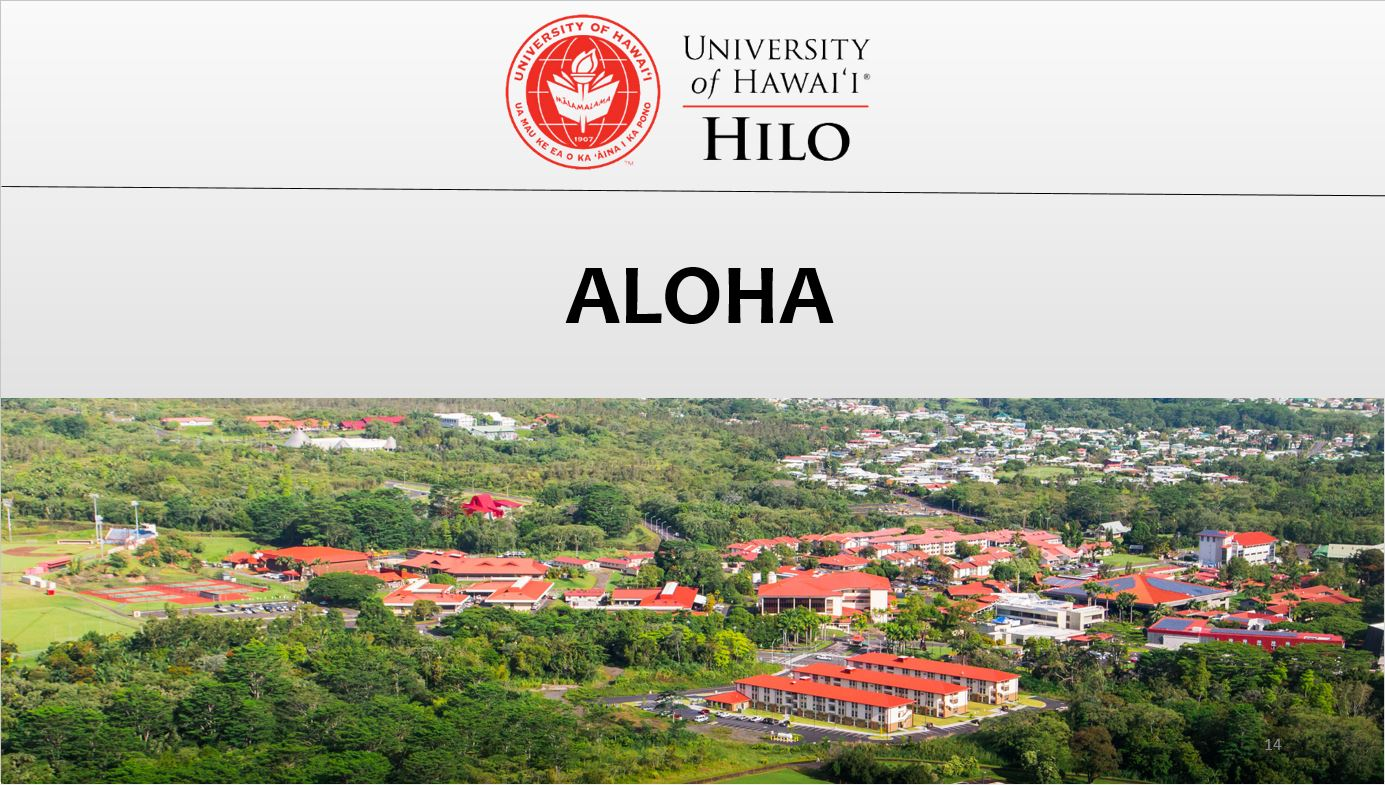 "Closing slide ""Aloha"""