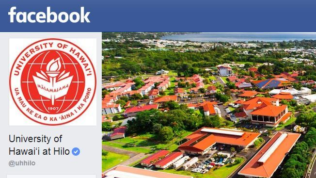 Snip of UH Hilo Facebook page with aerial photo of campus, UH Hilo logo, Facebook logo.