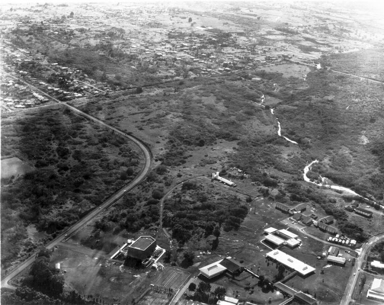 Aerial of campus, few buildings.