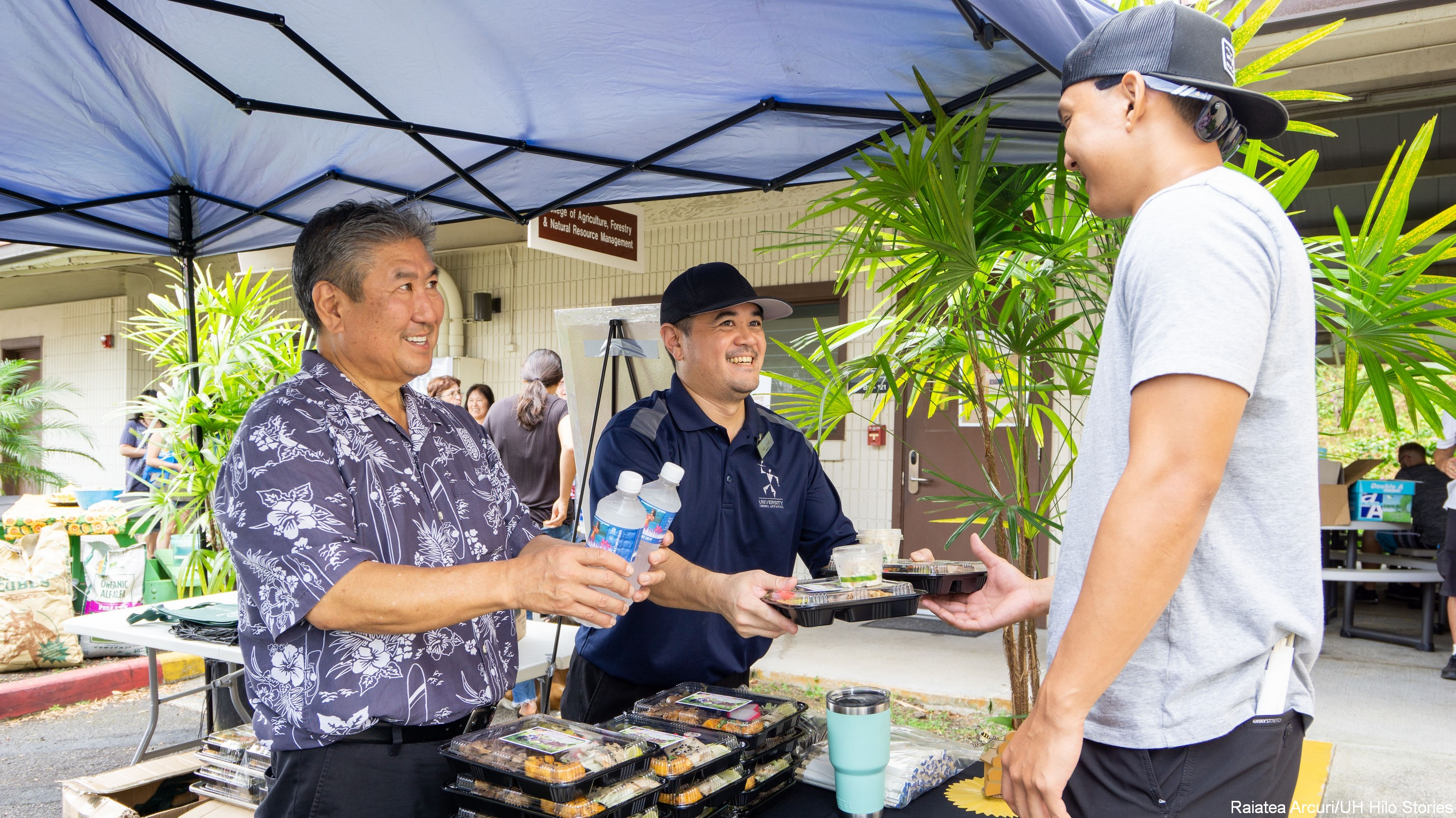 Chef Alan Wong, Reid Kusano, and Dylan Sugimoto.