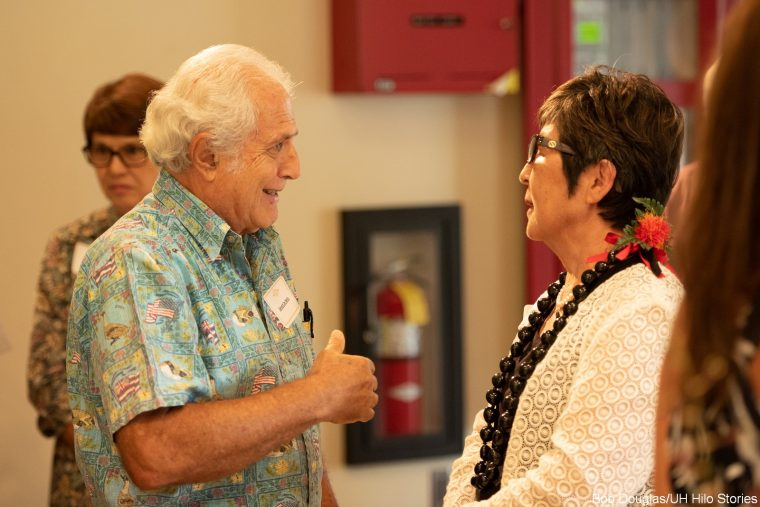 Former director of UH Hilo University Relations Gerald DeMello and Marcia Sakai.
