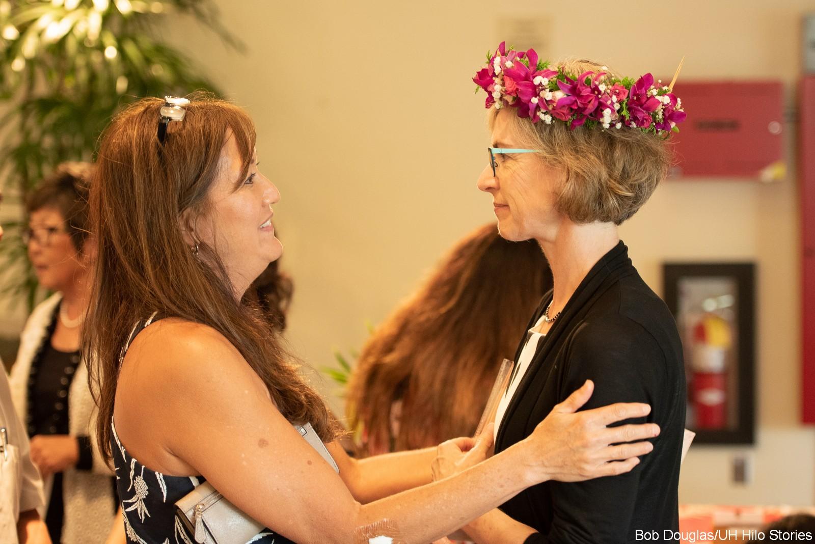 Attendee greets Jennifer Doudna.