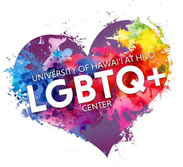 LGBTQ+ Center logo, rainbow heart with words: LGBTQ+ Center University of Hawaii at Hilo