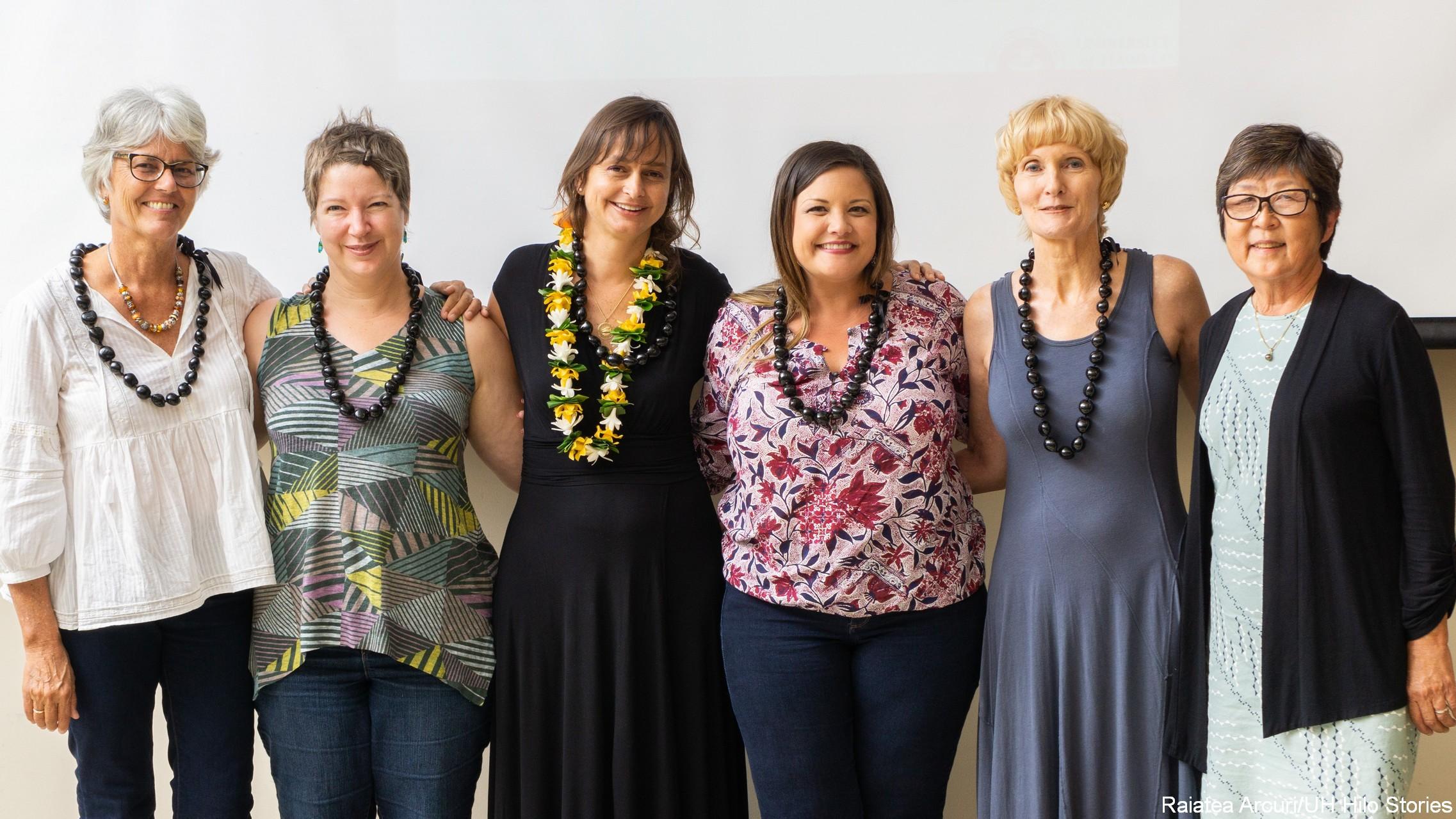 Group of faculty with chancellor: Kirsten Møllegaard, Sarah Marusik, Marina Karides, Charmaine Higa-McMillan, Faith Mishina. and Marcia Sakai.