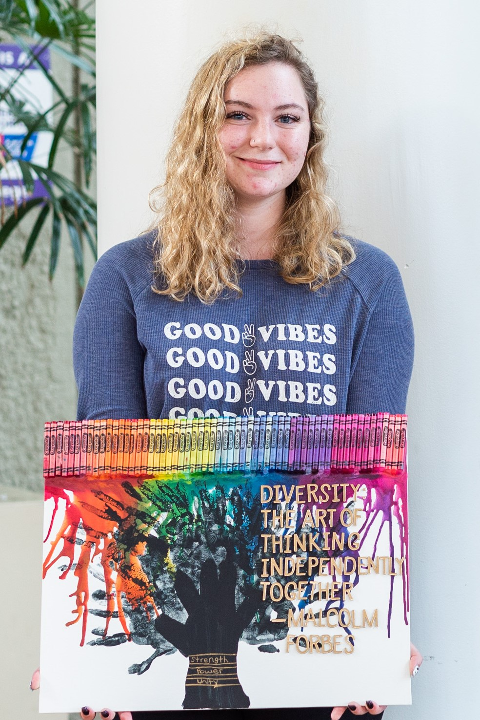Allison Dupre and her artwork, The