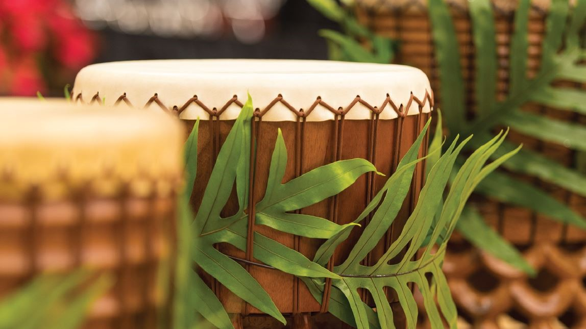 Pahu drum with fern.