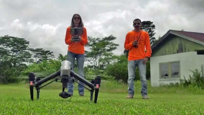 Two people with drone landed on lawn.