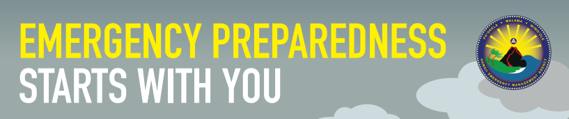Banner with the words: EMERGENCY PREPAREDNESS BEGINS WITH YOU. Logo graphic of volcanic eruption.