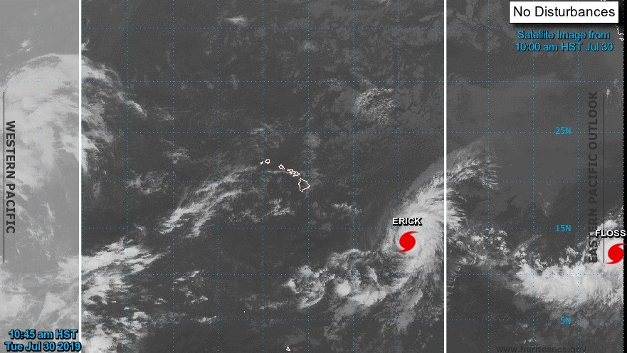 Satellite image of two hurricanes traveling across the Pacific. Words: Western Pacific, NO DISTURBANCES, image from 10:00 am July 30, 2019. Two red marks for the hurricanes Erick and Flossie.