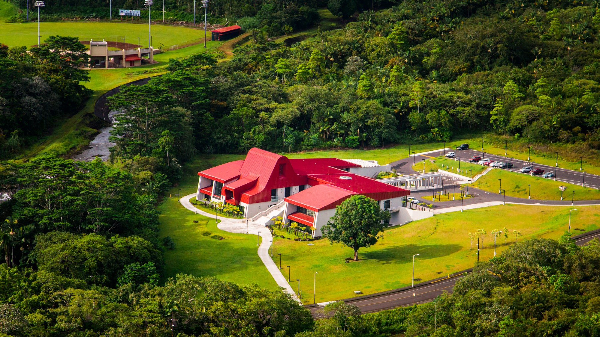 Aerial view of Haleolelo College of Hawaiian Language.