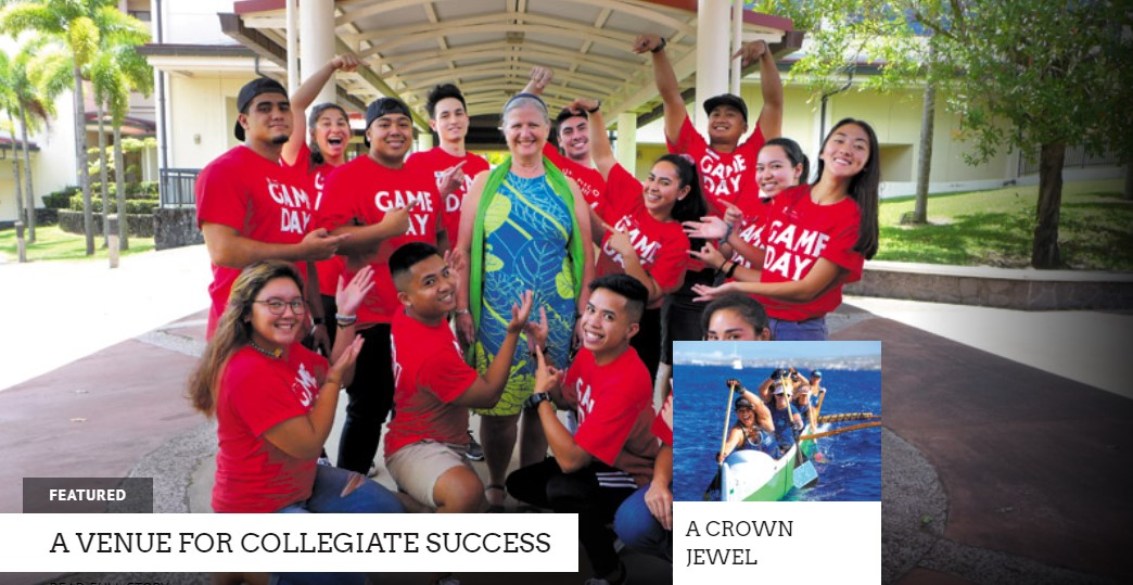 Group of students in red shirts with Chancellor Irwin. Words: Featured: A Venue For Collegiate Success. A small insert for another story is in the corner of canoe paddlers with words: Crown Jewel, read more