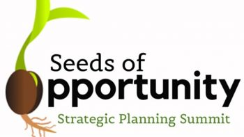 Logo with seed sprouting with words: Seeds of Opportunity Strategic Planning Summit.
