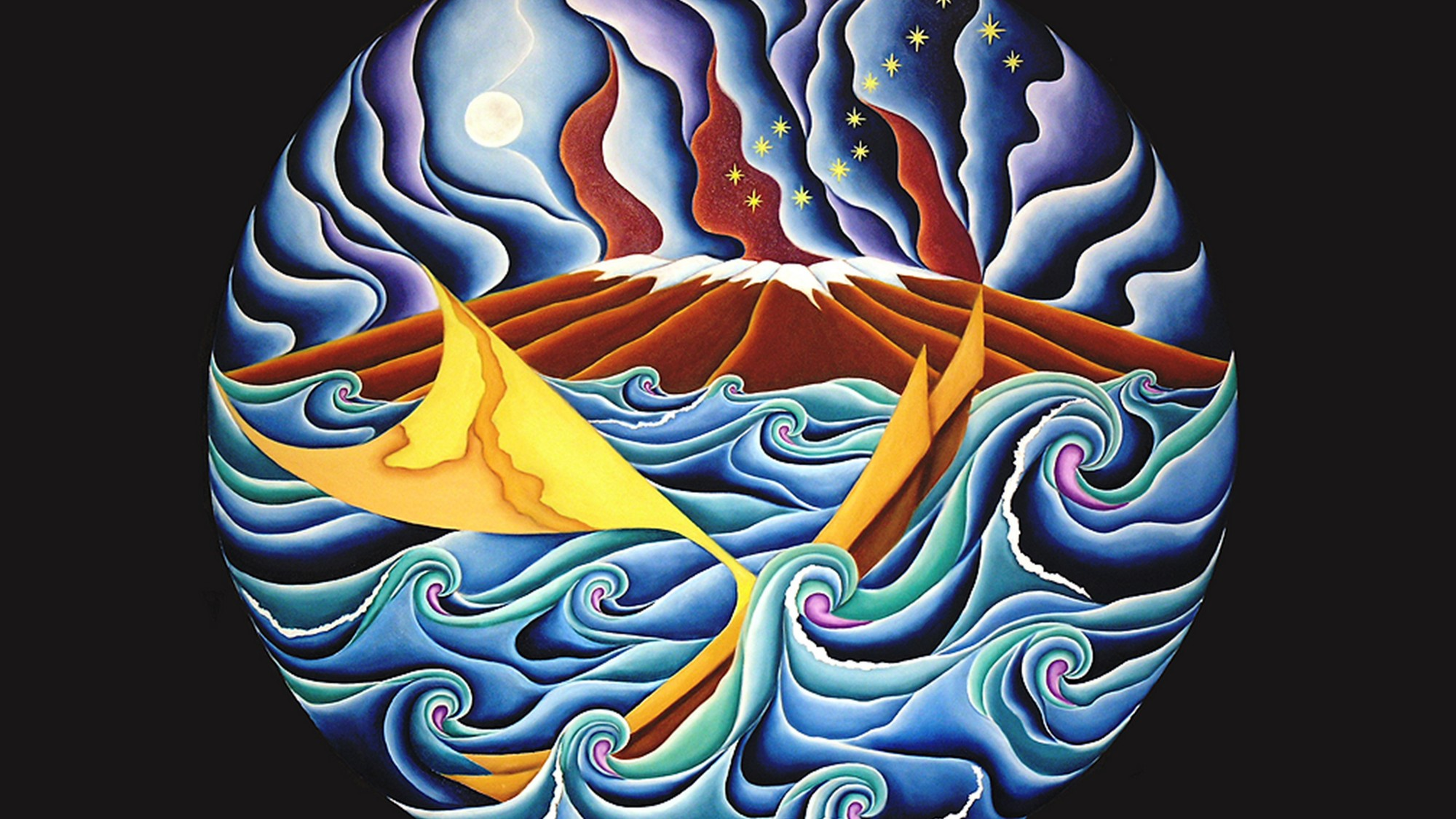 Painting of voyaging canoe in ocean, waves, island in background, stars above.