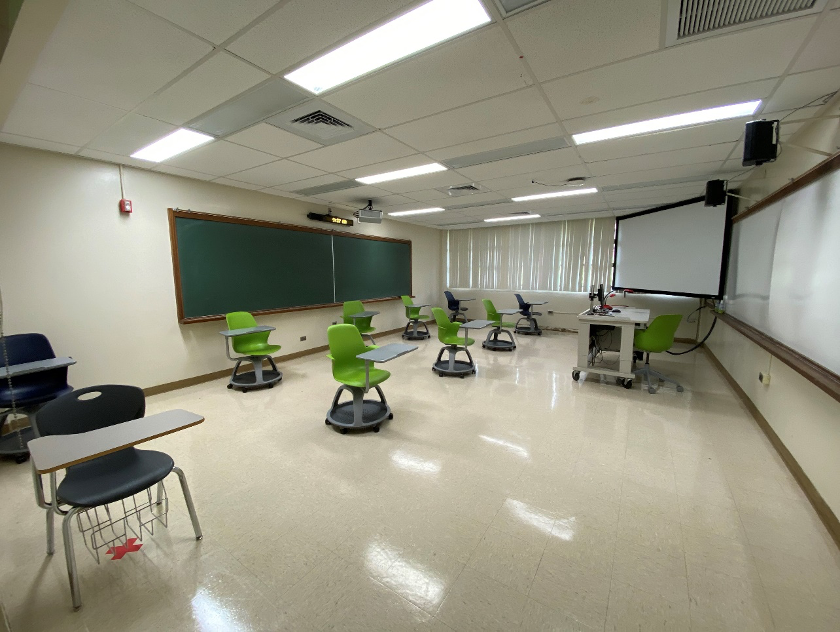 Classromm with chairs spaced six feet apart.